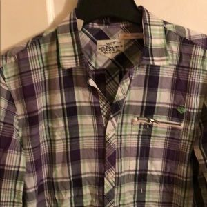 DIESEL MENS PURPLE PLAID BUTTON UP SHIRT LG